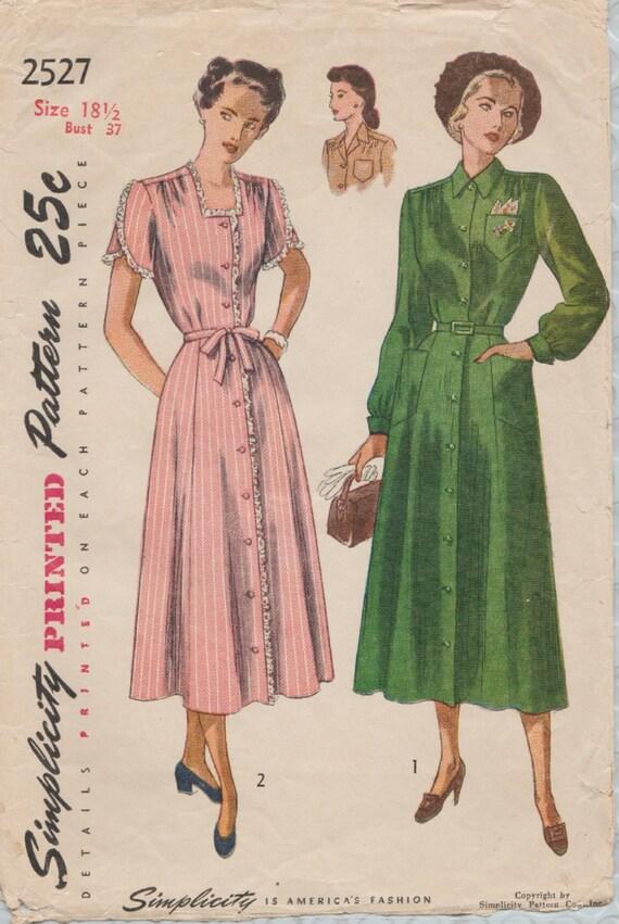 Vintage 40er Jahre Schnittmuster / Einfachheit 2527 / Kleid /