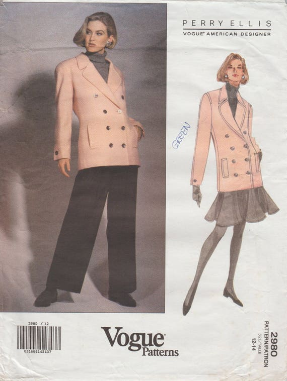 Vogue 2980 / Vintage Designer Sewing Pattern By Perry Ellis / | Etsy