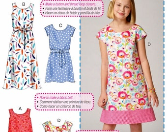 Learn to Sew a Girls' Dress Pattern, Easy Pullover Girls' Dress Pattern, McCall's Sewing Pattern 7111
