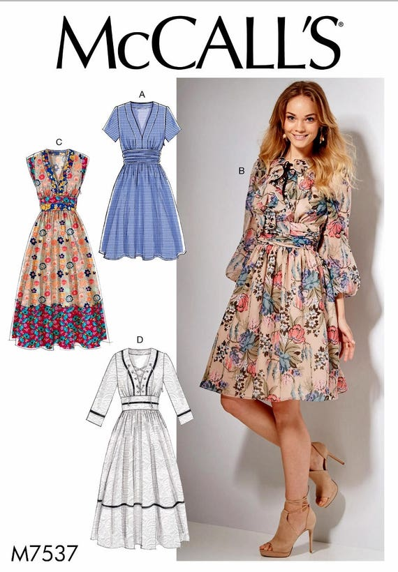 Classic Dress Pattern, Sunday Dress Pattern, Ladies Tea Length Dress ...