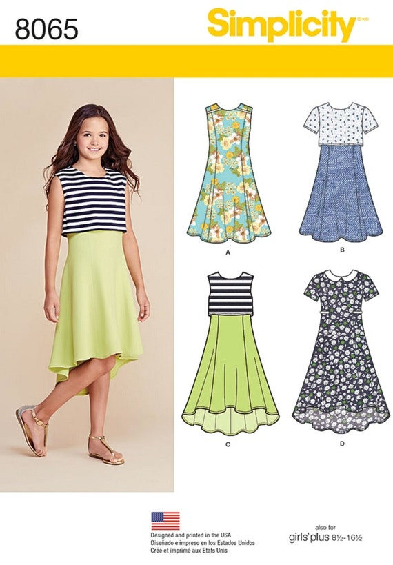 Sewing Pattern Tween Girls\' Dress Pattern, High Low Dress Pattern ...