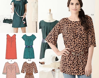 Pullover Tunic Top Pattern, Tunic Mini Dress Pattern,  A Learn to Sew Pattern, Sz 6 to 18, Simplicity Sewing Pattern 2147,