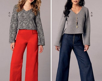 Stretch Knit Top and Pants Pattern, Wide Leg Cropped Pants Pattern, Pullover Top Pattern, McCall's Sewing Pattern 7445