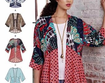 Kimono Jacket Pattern, Unlined Cardigan Jacket Pattern, Sz 4 to 26, Simplicity Sewing Pattern 8172