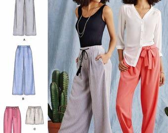 Loose Fit Pants Pattern, Wide Leg Pants Pattern, Tapered Pants Pattern, Elastic Waist Pants Pattern, Simplicity Sewing Pattern 8389
