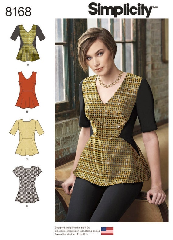 Sewing Pattern for Peplum Tops, Peplum Blouse Pattern, Simplicity ...