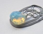 Opalite necklace, opalite pendant on long sterling silver popcorn chain, large stone pendant, white quartz pendant, choose length