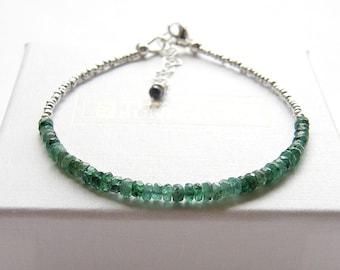 Dainty emerald bracelet, May birthstone jewelry, Brazilian emerald bracelet, skinny beaded bracelet, deep green gemstone silver bracelet