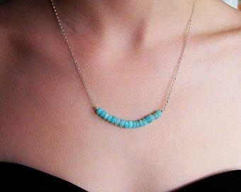 Blue opal necklace, gemstone bar necklace, aqua silver necklace, Peruvian blue opal sterling silver necklace, October birthstone, blue bar
