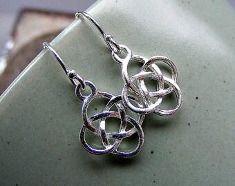 Celtic earrings in silver, sterling silver earrings, Celtic knot earrings, love knot earrings, petite silver earrings, dangle earrings