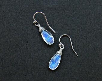 Blue moonstone earrings, June birthstone earrings, rainbow moonstone teardrop earrings in sterling silver, wire wrapped dangle earrings