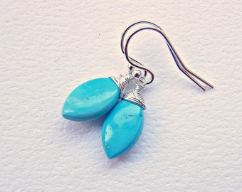 Sleeping Beauty turquoise jewelry, December birthday gift, turquoise sterling silver earrings, robins egg blue marquises drops in 925 silver