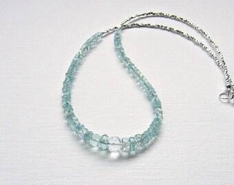 Aquamarine necklace, March birthstone necklace, statement necklace, Thai Karen silver necklace, aquamarine silver necklace, March birthday