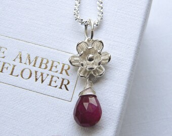 Ruby Necklace Water Lily Flower Pendant White Yellow Gold Plated Sterling Silver 1 CT Rectangle Red Gemstone Pendant Diamond July Birthstone