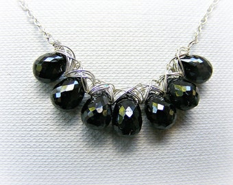 Black spinel necklace, beaded necklace in sterling silver and black gemstone, wire wrapped, choose length, adjustable, gift for wife