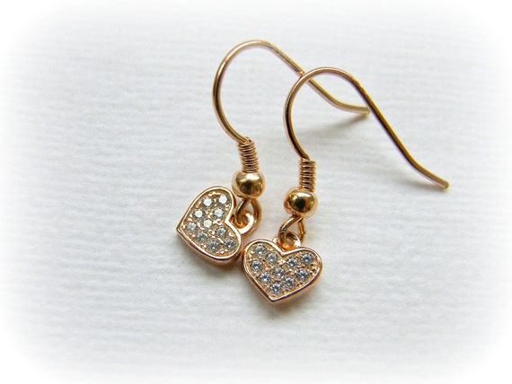 small dangly pink gold gift for girlfriend dainty romantic love charm drop earrings tiny rose gold earrings Rose gold heart earrings