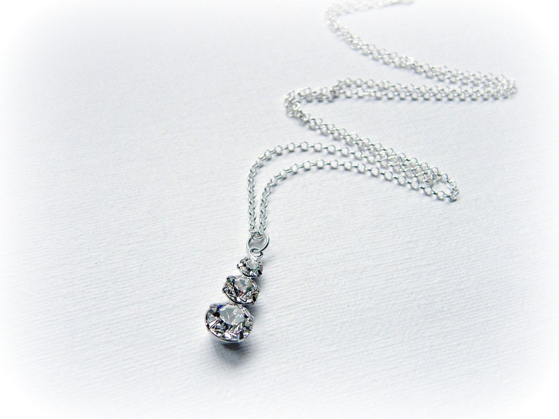 e40c30b2401ad Dainty clear crystal necklace made with Swarovski elements and sterling  silver - triple stone drop pendant