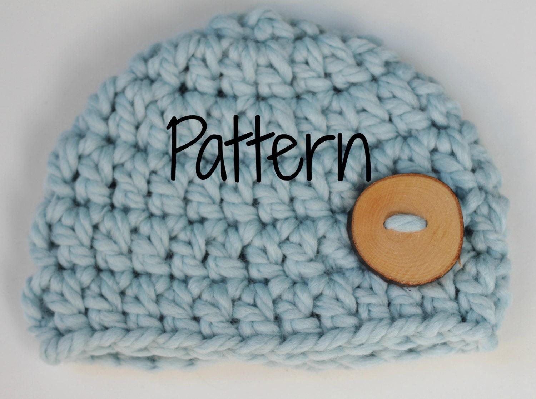 Crocheting Pattern Newborn Chunky Button Beanie Hat Baby Etsy