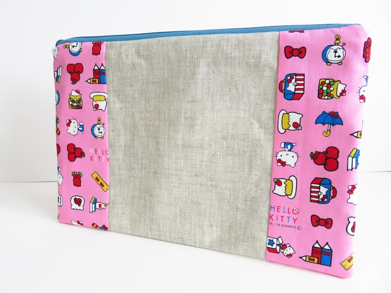 holder cotton fabric HELLO KITTY PINK handmade quilted crochet hook case