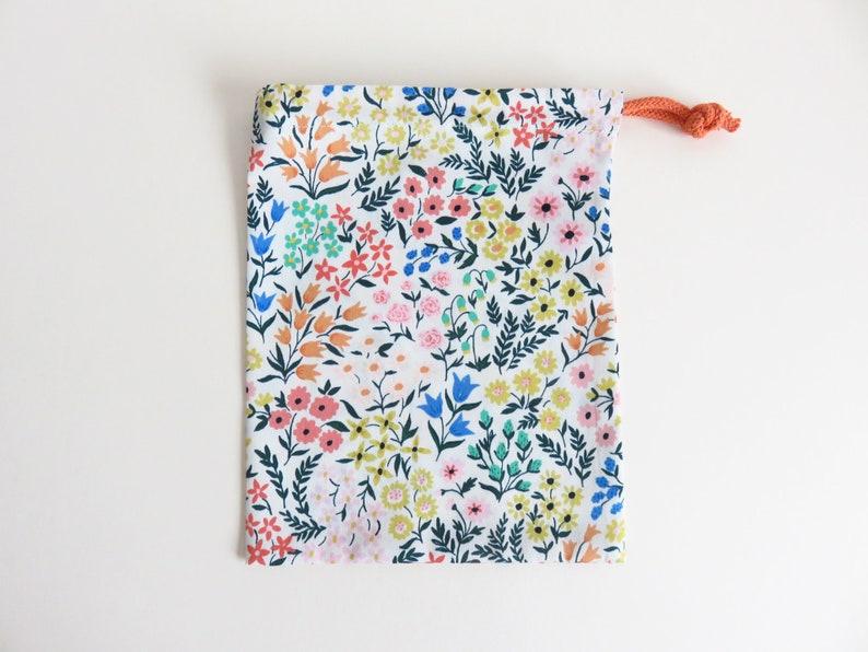 Drawstring Bag Small Cloud 9 Organic Cotton Meadow Wildflower Cassidy Demkov Fabric