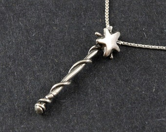 Magic Wand 5 pt. Fairy Wand Sterling Silver Necklace