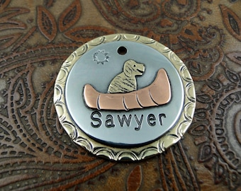 dog in canoe - dog id tag – personalized dog tag – dog tag for dogs – pet id tags – dog tag – islandtopcustomtags – islandtopdesigns