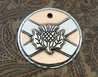Scottish flag - Scotland - Thistle - dog id tag – personalized dog tag – dog tag for dogs – pet id tags – dog tag – islandtopcustomtags