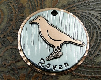 raven - dog id tag - pet tag – personalized dog tag – dog tag for dogs – pet id tags – dog tag – islandtopcustomtags – islandtopdesigns