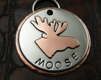 moose - dog id tag - pet tag – personalized dog tag – dog tag for dogs – pet id tags – dog tag – islandtopcustomtags – islandtopdesigns