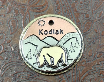 mountains - bear - dog id tag – personalized dog tag – dog tag for dogs – pet id tags – dog tag – islandtopcustomtags – islandtopdesigns