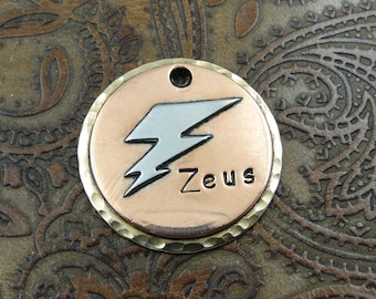 lightning bolt - dog id tag – personalized dog tag – dog tag for dogs – pet id tags – dog tag – islandtopcustomtags – islandtopdesigns zeus