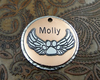 paw - angel wings - memorial - dog id tag– personalized dog tag – dog tag for dogs – dog tag – islandtopcustomtags – islandtopdesigns
