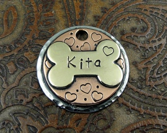 bone and hearts - dog id tag – personalized dog tag – dog tag for dogs – pet id tags – dog tag – islandtopcustomtags – islandtopdesigns