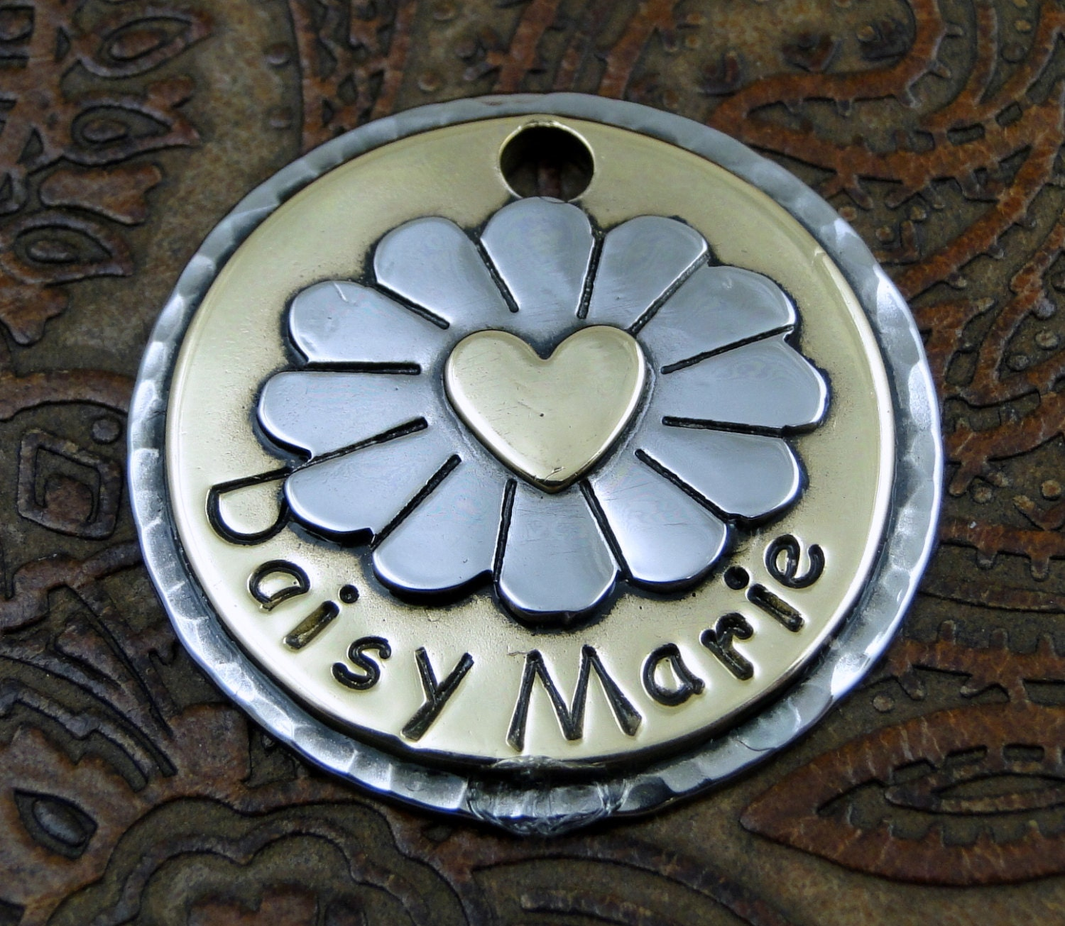 Custom Daisy Dog or Cat ID tag, Pet ID Tag, Personalized Pet Collar Tag