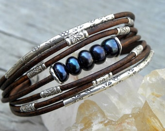 Black Pearls Leather and Sterling Silver Bracelet
