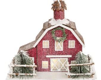 red barn light modern glitter house barn putz with battery operated light inside 30059960 light etsy