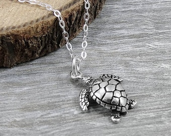 Sea Turtle Necklace, Sterling Silver Sea Turtle Charm on a Silver Cable Chain