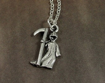 Grim Reaper Necklace, Silver Grim Reaper Charm on a Silver Cable Chain