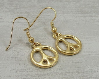 Peace Symbol Earrings, Gold Peace Sign Earrings, Gold Peace Symbol Earrings, Peace Symbol Dangle Earrings, Love Peace Hippie Themed Jewelry