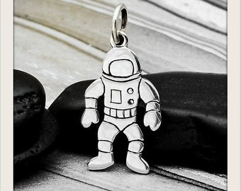 CLOSEOUT - 925 Sterling Silver Astronaut Charm, Tiny Astronaut Pendant, Space Galaxy Charm, Outer Space Moon Charm Jewelry
