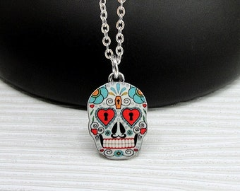 Sugar Skull Necklace, Silver Plated Candy Skull Charm Necklace, Day of the Dead Necklace, Sugar Skull Charm, Halloween Themed Jewelry