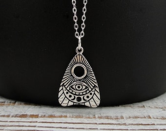 925 Sterling Silver Ouija Planchette Necklace, All Seeing Eye Charm Necklace, Ouija Board Charm Necklace, Silver Ghost Spirit Charm Jewelry