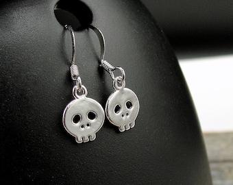 Tiny Skull Earrings, Silver Plated Skull Dangle Earrings, Skeleton Earrings, Goth Dangle Earrings, Halloween Themed Earrings, Goth Jewelry