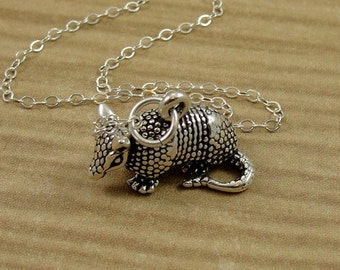 Armadillo Necklace Sterling Silver Texas Armadillo Charm On A Silver Cable Chain