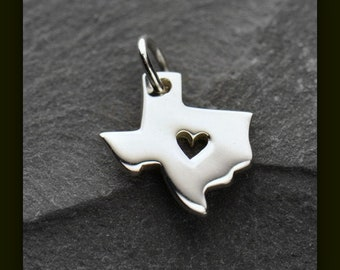 CLOSEOUT - State of Texas with Heart Charm - Sterling Silver Texas Charm for Necklace or Bracelet