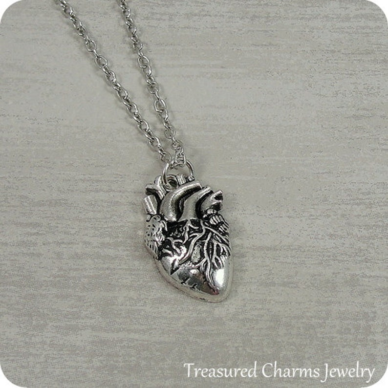 Human Heart Necklace Silver Realistic Human Heart Charm on a image 0