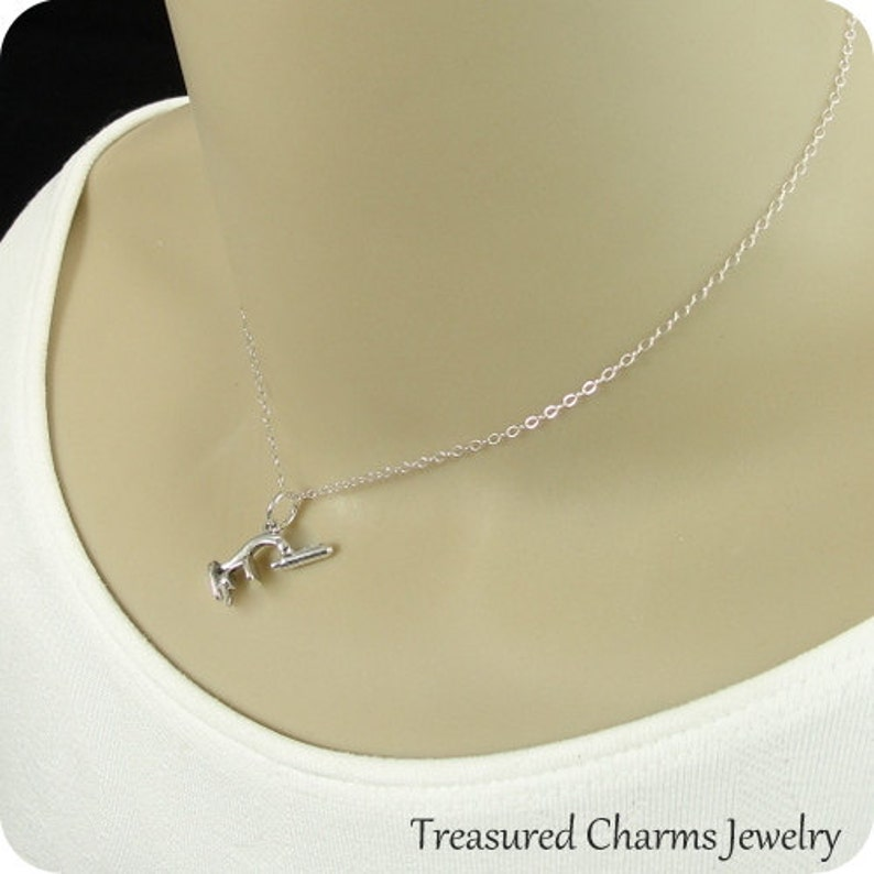 Microscope Necklace Sterling Silver Microscope Charm on a Silver Cable Chain