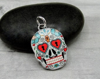 Sugar Skull Charm, Candy Skull Charm, Day of the Dead Charm, Dia de los Muertos Charm Jewelry, Necklace or Bracelet Charm, Halloween Charm