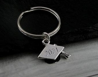 Silver 2021 Graduation Keychain, 2021 Graduation Key Ring, Graduation Cap Charm, Graduation Gift, Graduation Jewelry, Class of 2021 Keychain