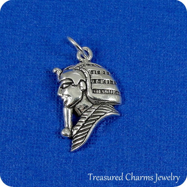 Sterling King Tut Charm for Necklace or Bracelet Egyptian Pharaoh Charm